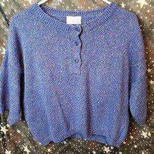 Benetton Cropped Sweater Blue Pullover Size Medium